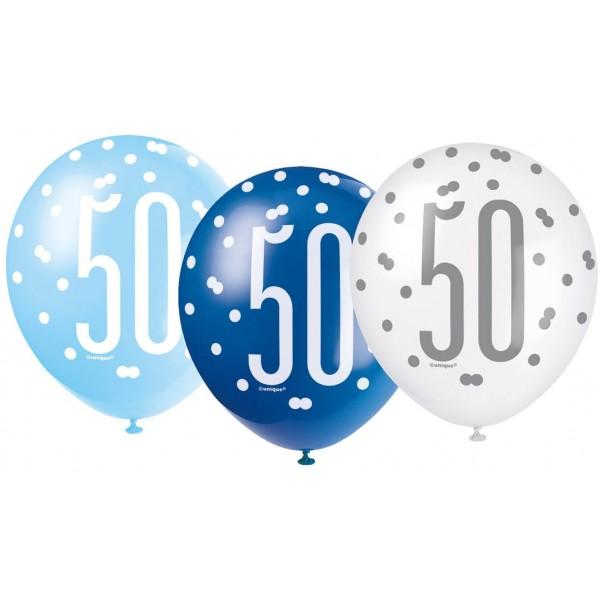 Balóny 50. narodeniny, biely, bledomodrý, modrý, 30cm, 6ks