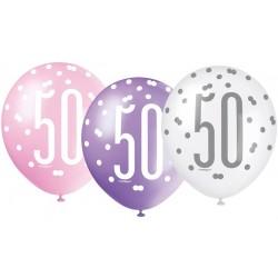 Balóny 50. narodeniny, biely, ružový, fialový, 30cm, 6ks
