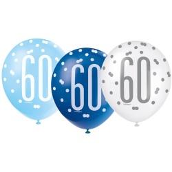 Balóny 60. narodeniny, biely, bledomodrý, modrý, 30cm, 6ks