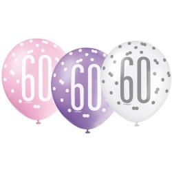 Balóny 60. narodeniny, biely, ružový, fialový, 30cm, 6ks