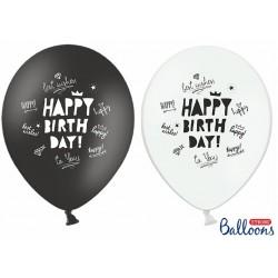Balóny Happy Birthday biele a čierne, 30cm, 1ks