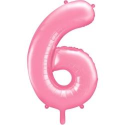 Fóliový balón číslo 6, bledoružový, 86cm