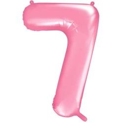 Fóliový balón číslo 7, bledoružový, 86cm