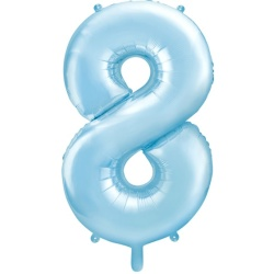 Fóliový balón číslo 8, bledomodrý, 86cm