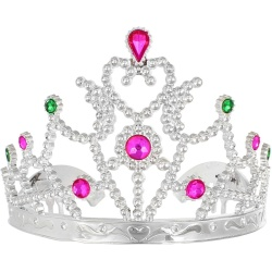 Korunka pre princeznú strieborná s farebnými kamienkami