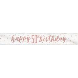 Nápis Happy Birthday 50. narodeniny ružovo zlatý, 274cm