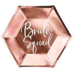 Papierové taniere Bride squad ružovo zlaté, 23cm, 6ks