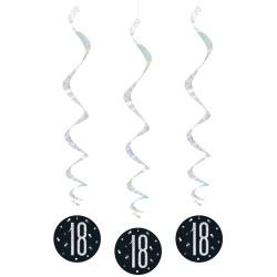Špirálová dekorácia 18. narodeniny čierna so striebornými číslami, 81cm, 6ks
