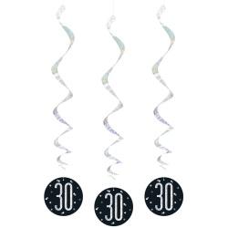 Špirálová dekorácia 30. narodeniny čierna so striebornými číslami, 81cm, 6ks