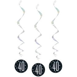 Špirálová dekorácia 40. narodeniny čierna so striebornými číslami, 81cm, 6ks