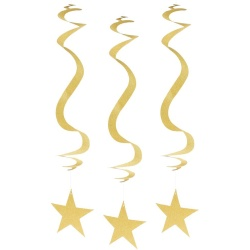 Špirálová dekorácia zlaté trblietavé hviezdy, 3ks