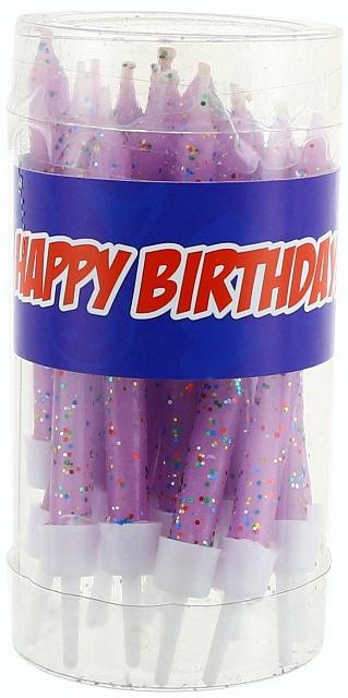 Sviečky na tortu s brokátom ružové, 7,5cm, 20ks