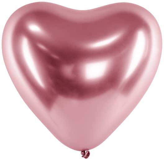 Balón chrómový ružové srdce, 30cm, 1ks