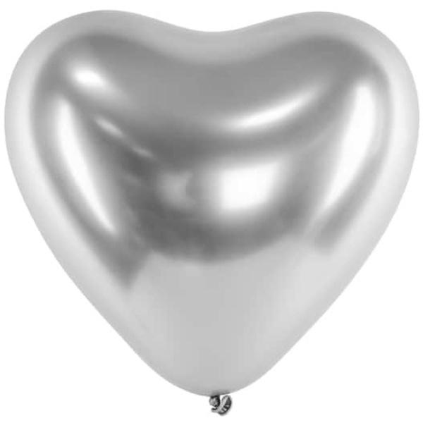 Balón chrómový strieborné srdce, 30cm, 1ks