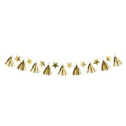 Girlanda zlaté hviezdy a strapce, 130cm