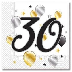 Servítky 30. narodeniny, balóny, 33x33cm, 20ks