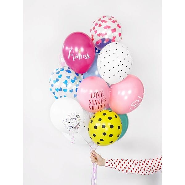 Balón Srdiečka bledomodrý, priehľadný, 30cm, 1ks