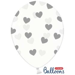 Balón Srdiečka strieborné, priehľadný, 30cm, 1ks