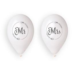 Balóny na svadbu s potlačou Mr a Mrs, biele, 33cm, 4ks