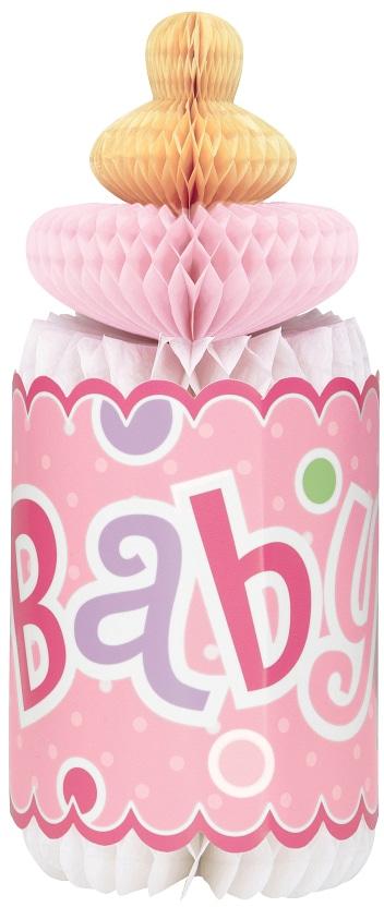 Papierová rozeta v tvare detskej fľaše, ružová, 30cm