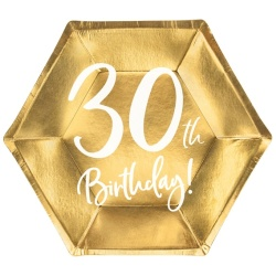 Papierové taniere 30. narodeniny zlaté, 20cm, 6ks