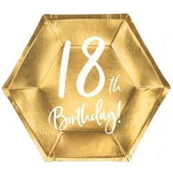 Papierové taniere 18. narodeniny zlaté, 20cm, 6ks