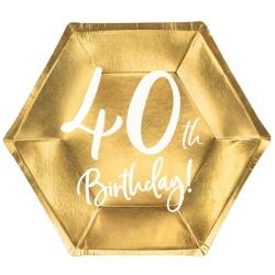 Papierové taniere 40. narodeniny zlaté, 20cm, 6ks