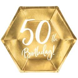Papierové taniere 50. narodeniny zlaté, 20cm, 6ks