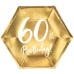 Papierové taniere 60. narodeniny zlaté, 20cm, 6ks