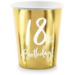 Papierový pohár 18. narodeniny zlatý, 220ml, 6ks
