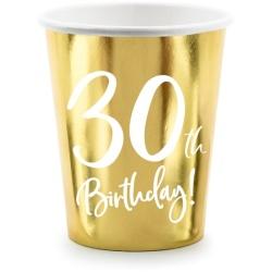 Papierový pohár 30. narodeniny zlatý, 220ml, 6ks