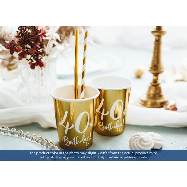 Papierový pohár 40. narodeniny zlatý, 220ml, 6ks