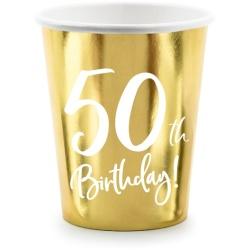 Papierový pohár 50. narodeniny zlatý, 220ml, 6ks