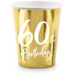 Papierový pohár 60. narodeniny zlatý, 220ml, 6ks