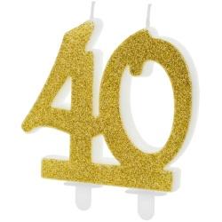 Sviečka 40. narodeniny zlatá trblietavá, 75mm
