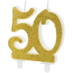 Sviečka 50. narodeniny zlatá trblietavá, 75mm