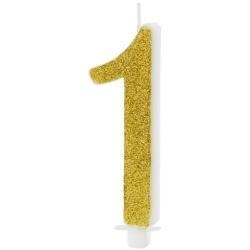 Sviečka číslo 1 zlatá trblietavá, 10cm