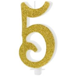Sviečka číslo 5 zlatá trblietavá, 10cm