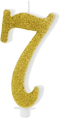 Sviečka číslo 7 zlatá trblietavá, 10cm