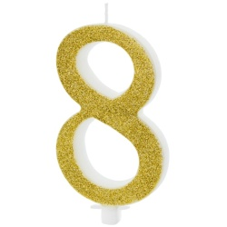 Sviečka číslo 8 zlatá trblietavá, 10cm