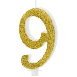 Sviečka číslo 9 zlatá trblietavá, 10cm