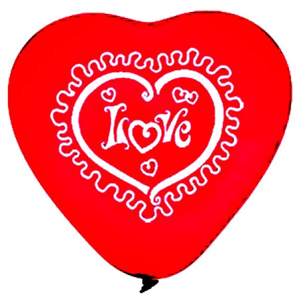 Balón červené srdce I love You, 25cm, 1ks