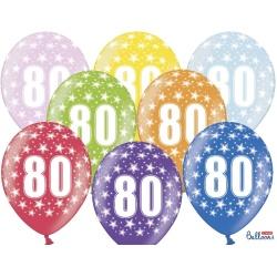 Balón číslo 80 metalický mix farieb, 35cm, 1ks