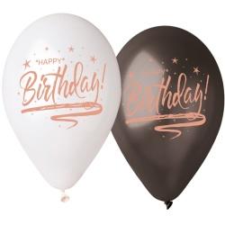 Balón s nápisom Happy Birthday ružovo zlatý, 33cm, 5ks