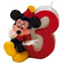Číselná sviečka 3 Mickey Mouse, 5cm