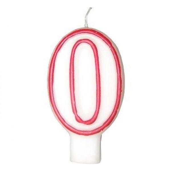 Číslova sviečka 0 červená, 7.5cm