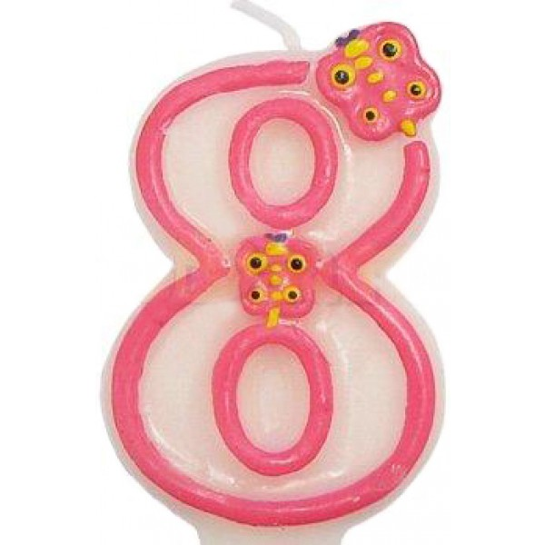 Číslová sviečka 8 motýľ, ružová, 7.5cm