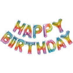 Fóliové balóny nápis Happy Birthday, farebný, 340x35cm