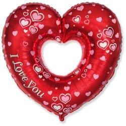 Fóliový balón srdce s nápisom I Love You, 60cm