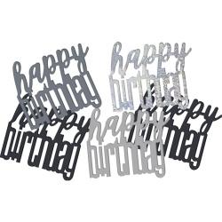 Konfety nápis Happy Birthday strieborno čierne, 14.1g